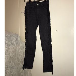 Levi's black straight jeans with sideseam FRINGE